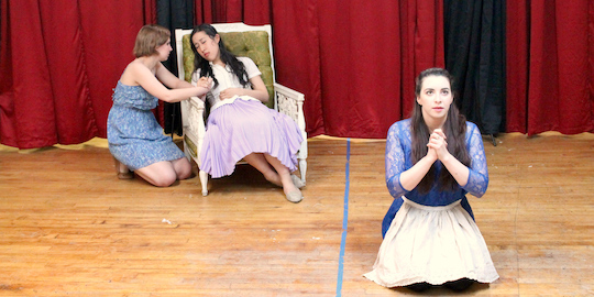 Hidaspes (Amelia Fei) dies from a broken heart while her maids (Ivy Tinker and Lindsay Fabes) tend and pray for her in Bad Quarto's 2017 production of <em>Cupid's Revenge</em>, directed by Angelina LaBarre. Photo by James M. Smith.